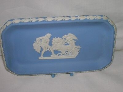Lovely Wedgwood blue jasper ware oblong dish/pin tray (a)