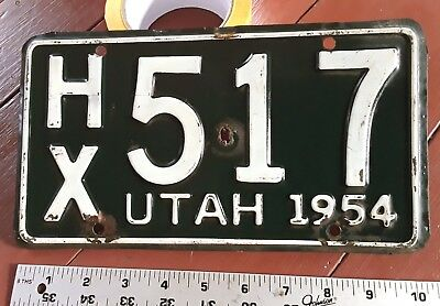 UTAH - 1954 passenger license plate, nice original condition