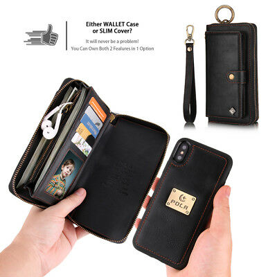 Zipper Purse Detachable Leather Wallet Case Magnetic Cover For iPhone & Samsung