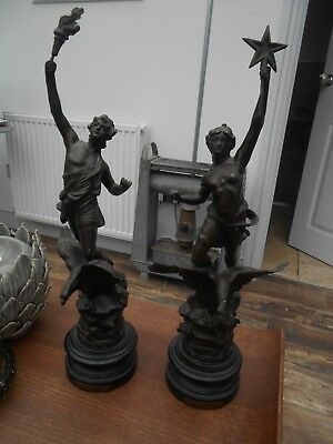Pair Fine Antique Stunning French Night And Day Large Spelter Statues