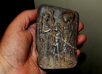 Very Rare Large Ancient Carving On A Lapis Lazuli Stone Slab Of A Roman Family