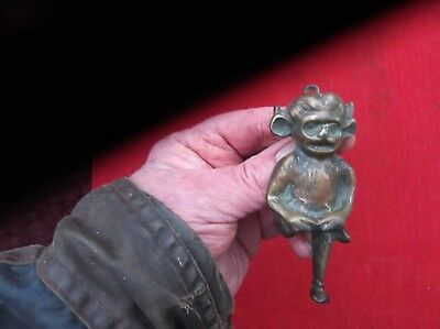 Antique Large Heavy Brass Lincoln Devil Door Knocker/lincoln Cathedral Knocker
