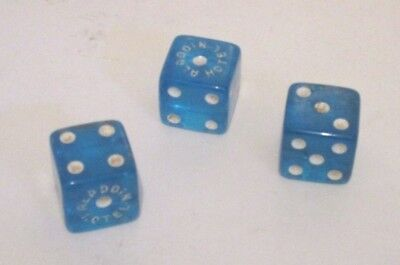 Las Vegas Aladdin Casino Hotel Deal/3 Blue Gaming Dice Gambling Souvenir