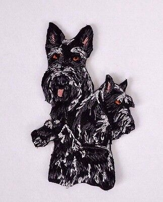 ***embroidered*** Iron On Patch Dog Detailed Quality Schnauzer Black Free Ship