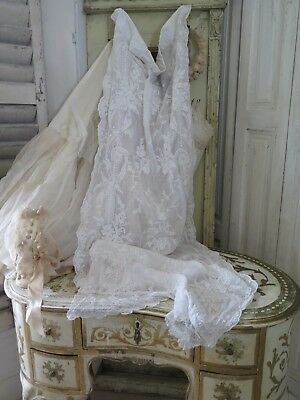 Antique french CURTAIN 1890 Cornely BRODERIE Victorian Tüll VORHANG Shabby