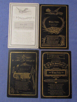 Lot Of 4 Antique Death Memorial Remembrance Cabinet Cards All 1891 Wilson Potter