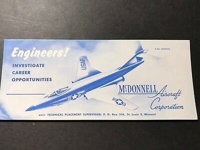 Vintage Mcdonnell Aircraft Engineer Help Wanted Ad Card  F-101 Voodoo Gem Mint!