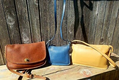 Lot Of 3 Coach Gloved Leather Shoulder Bag's Crossbody Bleeker Legacy Satchel