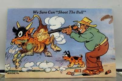 Comic Cartoon Can Shoot the Bull Postcard Old Vintage Card View Standard Post PC