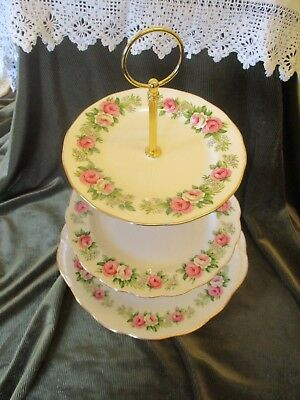Lovely Vintage Colclough China Plated 3 Tier Cake Stand 'enchantment'