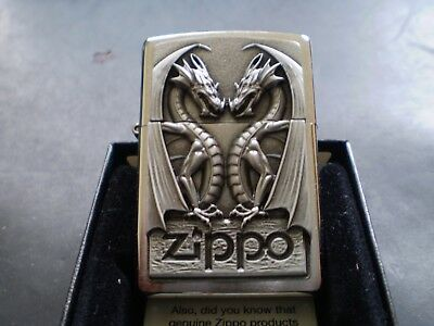 """Zippo / The """" Twin Dragons """" / A Great Design In Fantastic Detail / Mint In Box"""