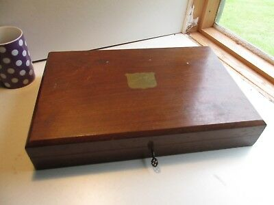 wooden and brass cutlery box with key c1900