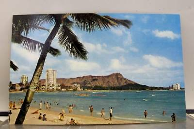 Hawaii HI Waikiki Beach Diamond Head Hotel Postcard Old Vintage Card View Post