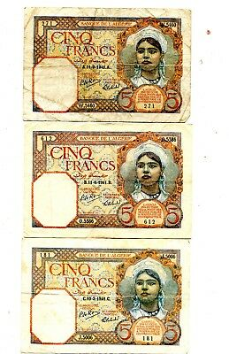 Algeria 5 Francs 1941 Series A/b/c Lot Of 3 Fine 9.95