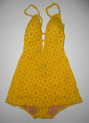 VTG 60s COLE Of CALIFORNIA 1 pc ROMPER SwimSuit RETRO YELLOW Skirted Play Suit S