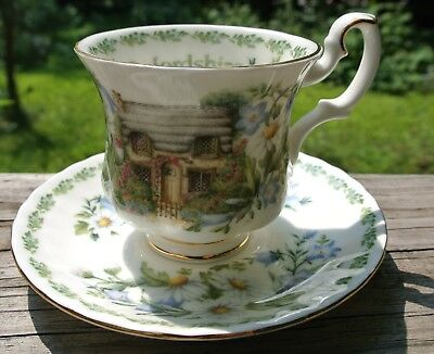 """""""Oxfordshire"""" Royal Albert Teacup English Country Cottages. White Floral Tea Set"""