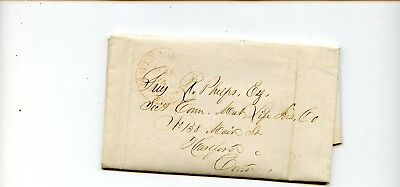 USA Stampless Cover 1848 Northhampton>Hartford CT Business letter Life Insurance