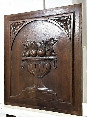 GOTHIC FRUIT BOWL PANEL Antique french hand carved wood architectural salvage