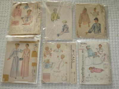 Mixed Lot 6 Vtg. McCalls, Simplicity, Butterick sewing patterns used 1940's/30's
