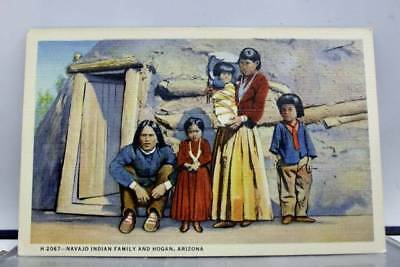 Arizona AZ Navajo Indian Family Hogan Postcard Old Vintage Card View Standard PC