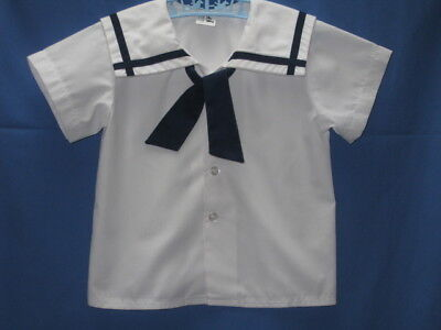 "Vtg 80's THERESE COLLECTION  BOY'S WHITE S Slv SAILOR SHIRT Sz 4T 26"" CHEST USA"
