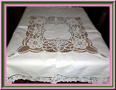 Early Elegant Antique Battenburg Lace Tablecloth With Embroidery