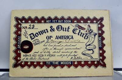 Comic Cartoon Down Out Club America Skidoo Postcard Old Vintage Card View Post