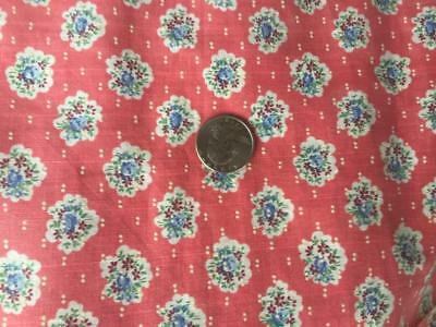 "2+ Yds Vintage 34"" Wide Cotton Fabric Pink Salmon Color w/tiny Blue Roses"