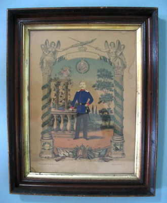 German Military Soldier Picture In Frame Original 1875