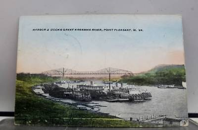 West Virginia WV Harbor Docks Kanawha River Point Pleasant Postcard Old Vintage