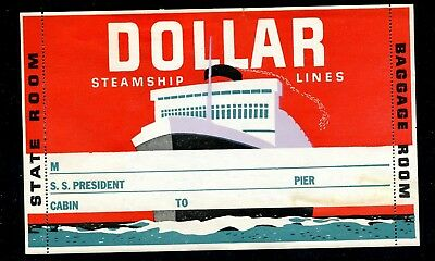"""USA 1930s Poster Stamp Dollar Steamship Label Luggage Label 7.0"""" SS President"""