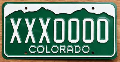 1984 Colorado Sample License Plate - XXX0000 - Rocky Mts graphic