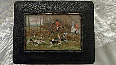 Early 1900 Leatherette Sewing Box Horse Rider Hunting Dogs Scene