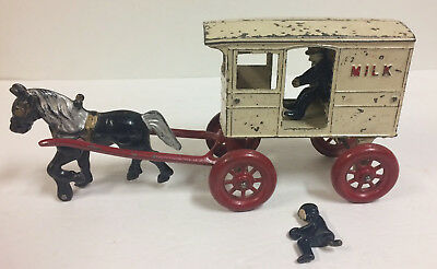 Vintage Cast Iron Horse Drawn Milk Carriage Wagon 2 Drivers 1900's Nice