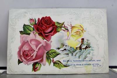 Greetings Be thou Faithful Unto Death Postcard Old Vintage Card View Standard PC