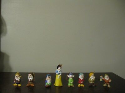 Vintage Snow White and the 7 Dwarfs Ceramic Figurines in Decorative Tin Japan