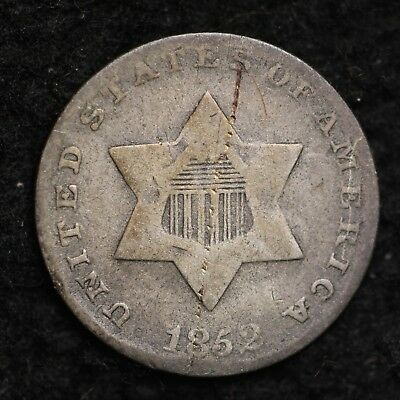 1852 Three Cent Silver Piece CHOICE VG FREE SHIPPING E169 CN