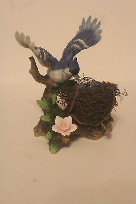 Ceramic Blue Jay Figurine With A Nest Of Baby Birds