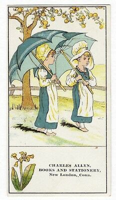 New London CT BOOKS STATIONERY Charles Allyn VICTORIAN Trade Card LITTLE GIRLS