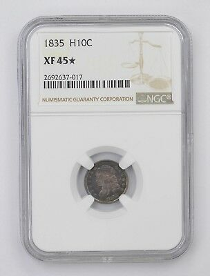 XF45 STAR 1835 Capped Bust Half Dime - NGC Graded *4534
