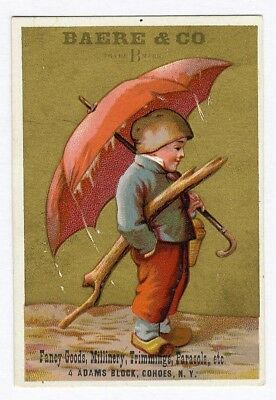 Cohoes New York BAERE & CO FANCY GOODS Victorian Trade Card CHILD UMBRELLA