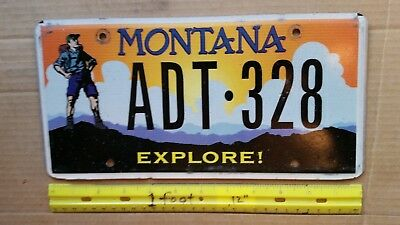 License Plate, Montana, Explore (Montana), Hiker, ADT 328, Sunset