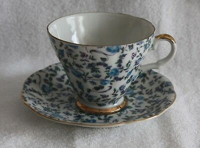 Lefton Fine Bone China Blue Floral Pattern Footed Gold Trim Teacup and Saucer
