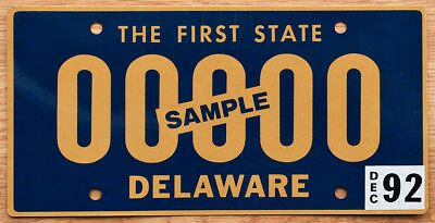 1992 Delaware Sample License Plate - The First State slogan - 00000 sample ovpt