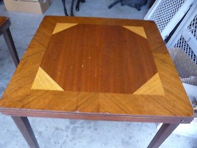 Vintage 1930's Inlaid Wood folding leg Card Game Table Triangle pattern