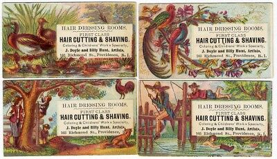 Providence RI HAIR CUTTING & SHAVING Dressing Rooms 4 VICTORIAN Trade Card 1880s