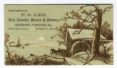 Morenci Michigan DRY GOODS SHOES P. S. Lee VICTORIAN Trade Card 1880s SNOW Scene