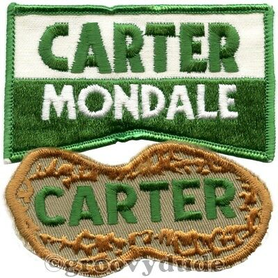 Two 1976 Jimmy Carter For President Mondale Peanut Political Campaign Patch Lot