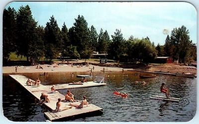 TWIN LAKES, Idaho  ID   Roadside  TWIN ECHO RESORT   Beach Scene  1963  Postcard