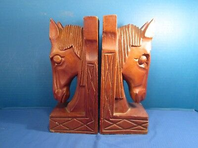 Vintage Wooden Horse Bookends